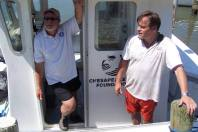 The Chesapeake Bay Foundation's Tommy Leggett and Virginia Delegate Keith Hodges visiting the marina for the 2013 Clean the Bay Day event.