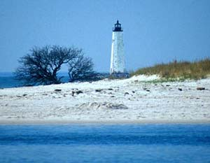 New Point Comfort lighthouse, the Chesapeake's third-oldest lighhouse. The lighthouse stands several hundred yards beyond the shore of the island. (Photo courtesy of NewPointComfort.com)
